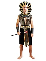 cheap -Egyptian Costume Outfits Men's Halloween / Carnival / Day of the Dead Festival / Holiday Halloween Costumes Golden Solid Colored /
