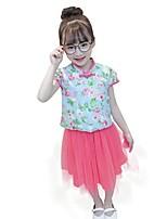 cheap -Kids Girls' Print Jacquard Short Sleeves Clothing Set
