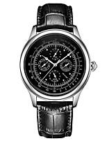 economico -Per uomo orologio meccanico Cinese Calendario / Fase lunare Acciaio inossidabile / Pelle Banda Lusso / Vintage Nero / Marrone