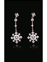cheap -Women's Crystal Long - Gold Plated, S925 Sterling Silver Flower, Sunflower, Bell European, Fashion White and Sliver For Daily / Holiday