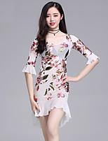 cheap -Belly Dance Dresses Women's Performance Spandex Pattern / Print / Ruching Half Sleeve Dress