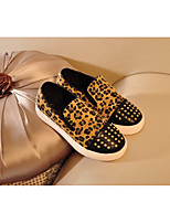 cheap -Girls' Shoes Nubuck leather Spring & Fall Comfort Loafers & Slip-Ons for Black / Leopard