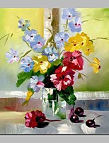 cheap -Oil Painting Hand Painted - Still Life / Floral / Botanical Traditional Canvas