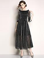 cheap -SHIHUATANG Women's Street chic Flare Sleeve Chiffon / Swing Dress - Solid Colored