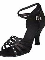 abordables -Femme Chaussures Latines Soie Talon Utilisation Entraînement Talon Aiguille Noir