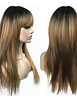 cheap -Synthetic Wig Straight Layered Haircut Synthetic Hair 100% kanekalon hair Golden Wig Women's Long Capless