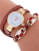 cheap -Women's Quartz Bracelet Watch Chinese Imitation Diamond Casual Watch PU Band Bohemian Fashion White Blue Red Brown Green Rose