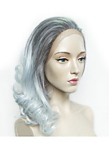 cheap -Synthetic Wig Wavy Layered Haircut Synthetic Hair Anime / Heat Resistant / Party Gray Wig Women's Long Lace Front Wig / Natural Hairline