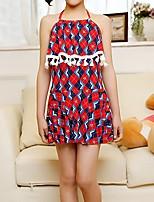 cheap -Kids Girls' Print / Color Block Sleeveless Swimwear