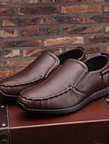 Недорогие -Муж. обувь Кожа Осень Удобная обувь Мокасины и Свитер Черный / Кофейный