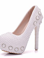 cheap -Women's Shoes PU Spring Fall Novelty Comfort Wedding Shoes Stiletto Heel Round Toe Rhinestone Pearl for Wedding Party & Evening White
