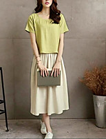 cheap -Women's Vintage / Street chic Shirt - Solid Colored, Pleated Skirt