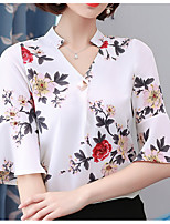 cheap -Women's Blouse - Solid Colored / Floral V Neck