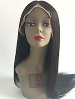 Недорогие -Необработанные Парик Бразильские волосы Прямой Стрижка каскад 130% плотность С детскими волосами Природные волосы Черный Короткие Длинные