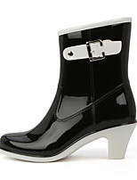 cheap -Women's Shoes PVC Spring & Summer Rain Boots Boots Chunky Heel for Work & Safety / Office & Career / Outdoor Black / Almond / Khaki