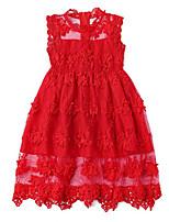 cheap -Kids Girls' Solid Colored / Jacquard Sleeveless Dress