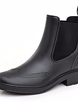 cheap -Women's Shoes PVC(Polyvinyl chloride) Spring & Summer Rain Boots Boots Chunky Heel Round Toe Mid-Calf Boots Black