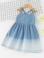 abordables -Enfants Fille Bleu & blanc Couleur Pleine Sans Manches Robe