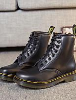 preiswerte -Damen Schuhe Leder Frühling Herbst Komfort Stiefel Flacher Absatz für Normal Schwarz Grau Braun Rot
