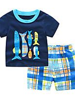 Недорогие -Дети (1-4 лет) Мальчики Полоски / Шахматка С короткими рукавами Набор одежды