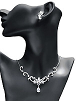 cheap -Women's Cubic Zirconia Jewelry Set - Drop, Star Fashion, Elegant Include Drop Earrings / Pendant Necklace White For Wedding / Party