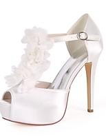 abordables -Femme Chaussures Satin Printemps été Escarpin Basique Chaussures de mariage Talon Aiguille Bout ouvert Imitation Perle / Fleur en Satin /