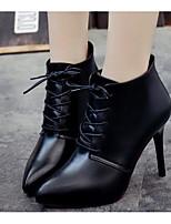 Недорогие -Жен. Обувь Полиуретан Осень Модная обувь Ботинки На шпильке Ботинки Черный