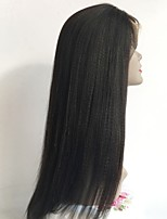 abordables -Cabello Virgen Peluca Cabello Brasileño Recto Corte a capas 130% Densidad Con Baby Hair Entradas Naturales Negro Corta Larga Longitud