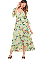 cheap -TS - Dreamy Land Women's Basic Flare Sleeve Sheath Dress - Floral Print