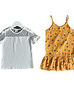 cheap -Kids Girls' Print Short Sleeve Clothing Set