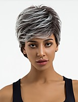 cheap -Synthetic Wig Wavy Pixie Cut Synthetic Hair Ombre Hair / Natural Hairline Dark Gray Wig Women's Short Capless / Yes