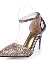 abordables -Femme Chaussures Polyuréthane Printemps été Escarpin Basique Chaussures à Talons Talon Aiguille Bout pointu Paillette Blanc / Noir / Bleu