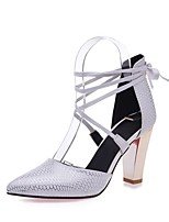 cheap -Women's Shoes Leatherette Spring & Summer D'Orsay & Two-Piece Heels Chunky Heel Pointed Toe Black / Beige / Red / Party & Evening