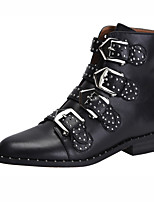 cheap -Unisex Shoes Cowhide Fall & Winter Fashion Boots / Combat Boots Boots Low Heel Round Toe Booties / Ankle Boots Rivet / Buckle White /