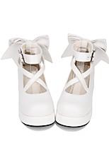 baratos -Doce Lolita Clássica e Tradicional Fofo Princesa Creepers Sapatos Sólido 5cm CM Branco Preto Tinta Azul Para PU