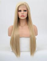 Недорогие -Синтетические кружевные передние парики Прямой Стрижка каскад Искусственные волосы Жаропрочная Золотистый Парик Жен. Длинные Парик из