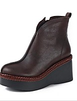 cheap -Women's Shoes Nappa Leather Winter Comfort Boots Wedge Heel Round Toe Black / Coffee