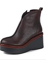 Недорогие -Жен. Обувь Наппа Leather Зима Удобная обувь Ботинки Туфли на танкетке Круглый носок Черный / Кофейный