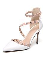 abordables -Femme Chaussures Similicuir Automne / Printemps été Confort Chaussures à Talons Talon Aiguille Bout pointu Rivet / Boucle Blanc / Noir /
