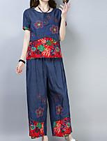 abordables -Mujer Conjunto - Un Color, Plisado Pantalón