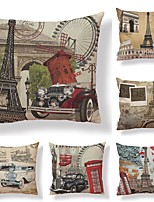 cheap -6 pcs Textile / Cotton / Linen Pillow case, Art Deco / Printing / Eiffel Tower Square Shaped / Vintage