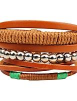 abordables -Effets superposés / Empiler Bracelets en cuir - Mode, Multicouches Bracelet Marron Pour Cérémonie / Plein Air