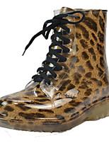 baratos -Mulheres Sapatos PVC Outono & inverno Botas de Chuva / Coturnos Botas Salto Robusto Ponta Redonda Botas Curtas / Ankle Vermelho / Azul /