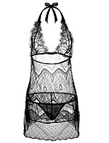 baratos -Mulheres Baby-doll & Slip Roupa de Noite - Renda / Vazado / Laço, Sólido
