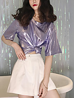 Недорогие -женская футболка pu - сплошная цветная шея