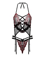 baratos -Mulheres Corpete Roupa de Noite - Renda Vazado Com Transparência, Floral Jacquard Bordado