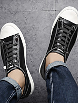 cheap -Men's Shoes Leather Spring & Fall Comfort Sneakers Black / Black / White