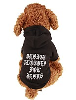 baratos -Cachorros / Gatos / Animais de Estimação Moletom / Camisola com Capuz Roupas para Cães Simples / Carta e Número / Clássico Preto Tecido