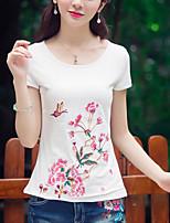 baratos -Mulheres Camiseta - Feriado Floral