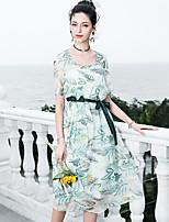 abordables -Femme Bohème / Sophistiqué Manche Papillon Trapèze Robe - Imprimé, Fleur Au dessus du genou